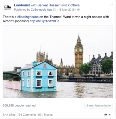 Londonist Facebook post creating lots of excitement and engagement.