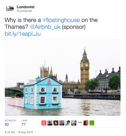 @londonist Tweet with eye catching image of iconic Houses of Parliament with the Floating House.
